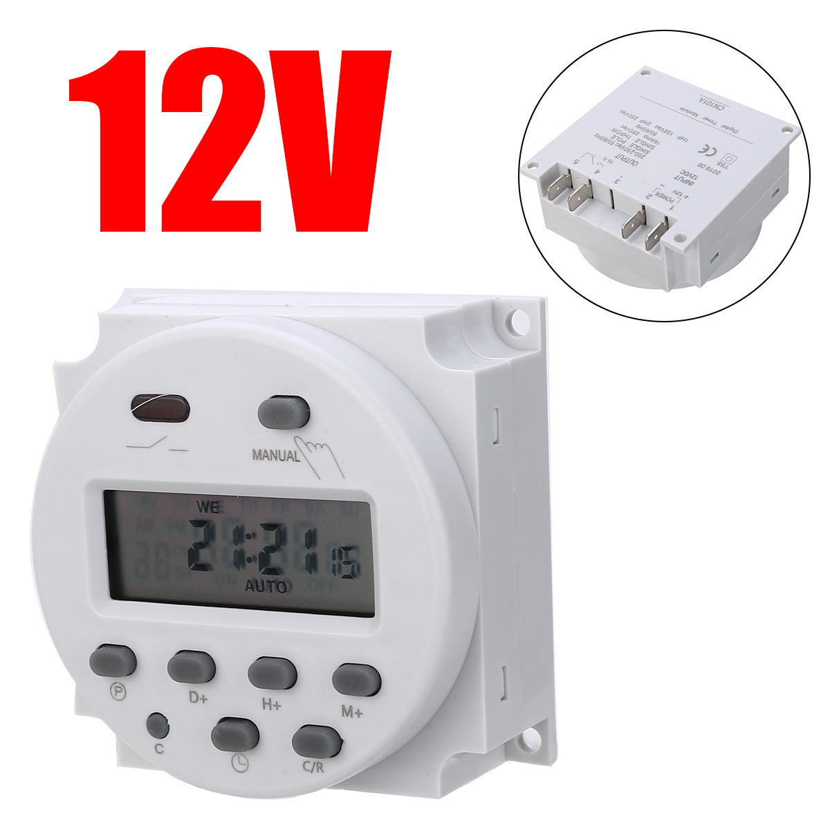 B7 12V DC Digital LCD Display PLC Programmable Time counter Timer switch Relay