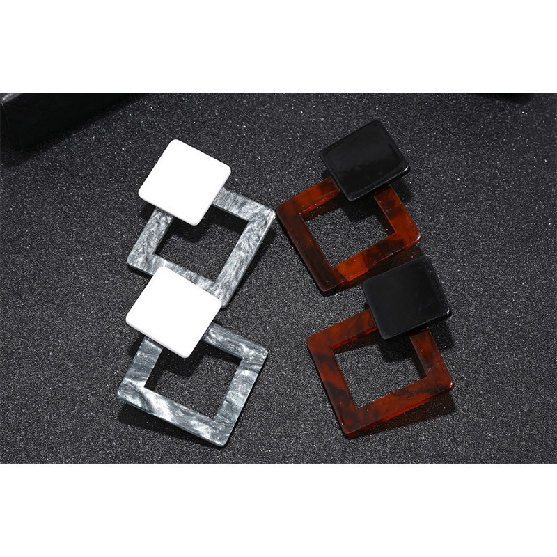 2018 New Acid Acrylic Resin Geometric Square Dangle for Women Long Pendant Earrings Fashion Jewelry haif