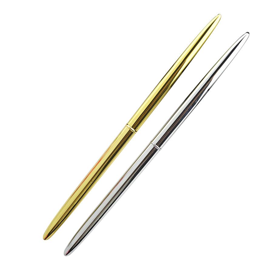 5 pezzi Mini penna a sfera tascabile in metallo colore nero girevole portatile