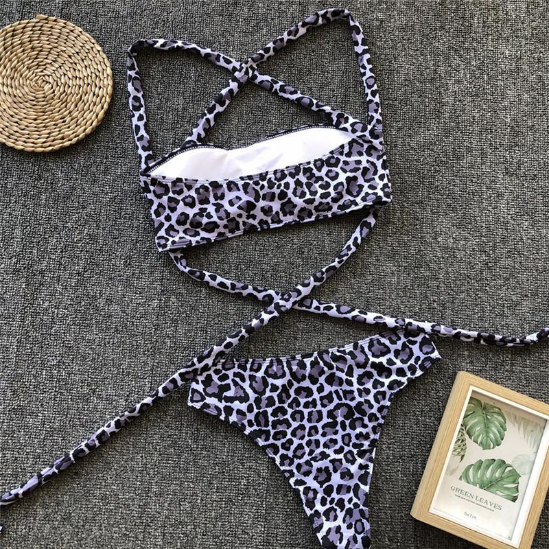 Sexy Leopard Swimwear Print Bathing Women 2019 Wear Bandage Swimsuit Beach Push Up Brazilian Buckle Bikini Set New