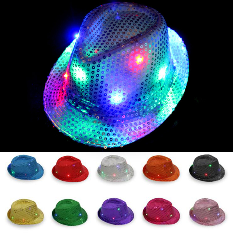 Adult Kid Sparkly Sequin Adults Hat Top Hat Glitter Dance Fancy Dress Party Jazz