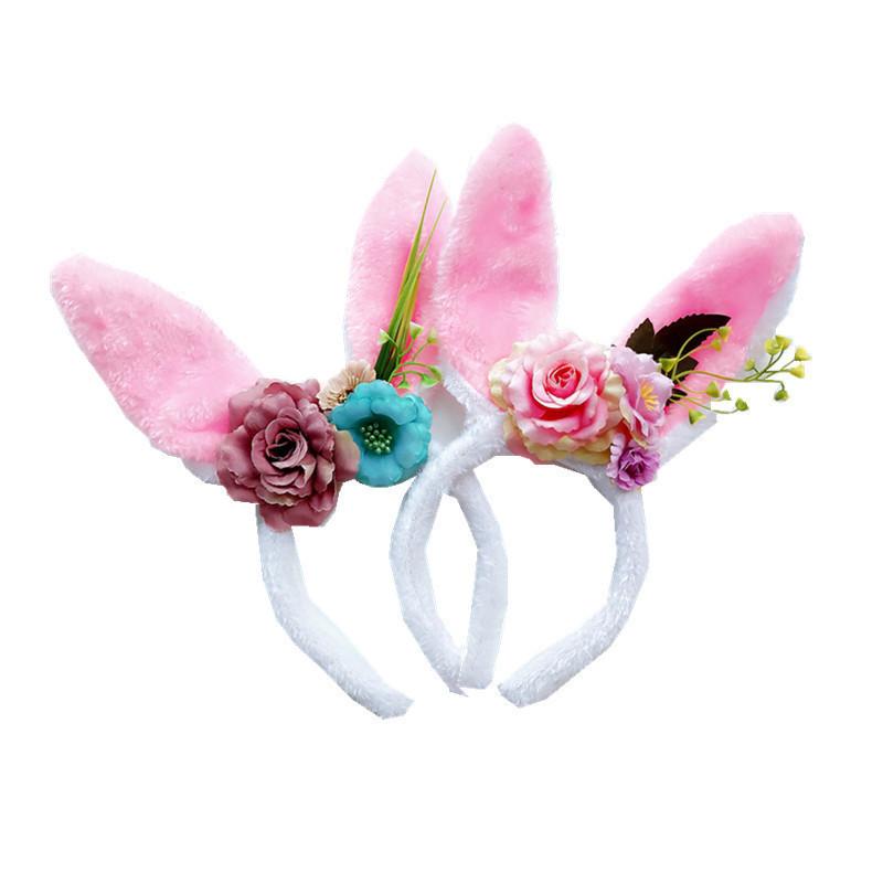 Novelty Children Rabbit Ear Flower hair hoops Hairband Kids girls Headband lovely festival dancing headdress Hair Accessories