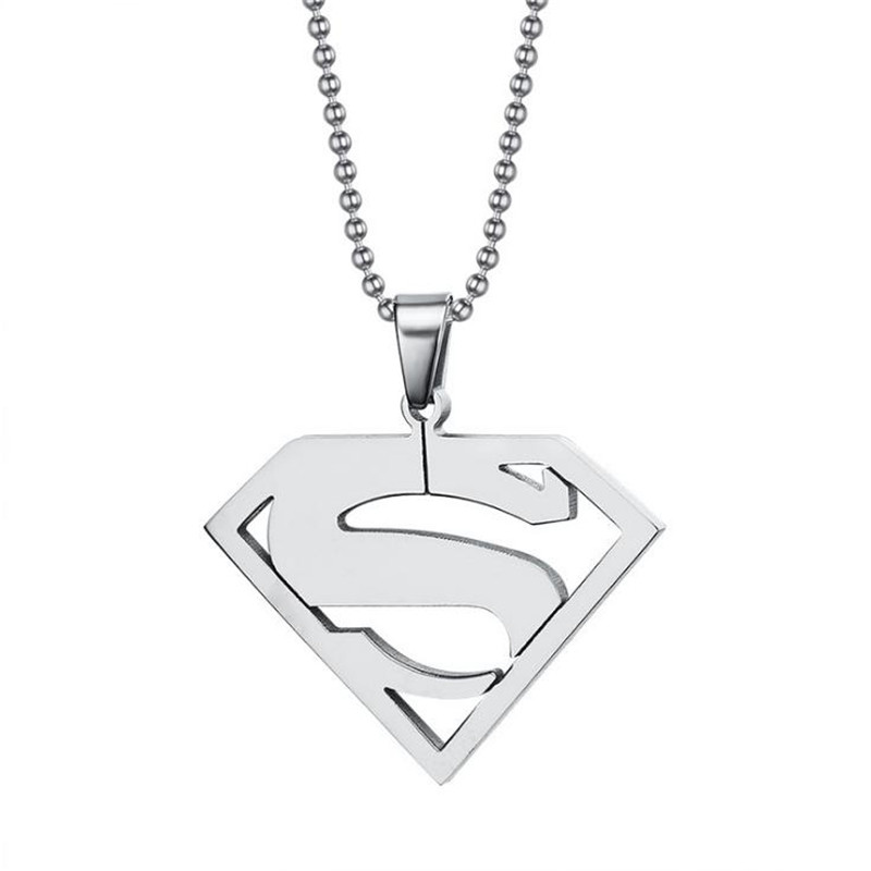 Stainless steel superman logo pendant for Men high polished anime superman logo sliver color man pendant boyfriend jewelry gift