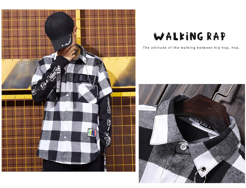 Red And Black Plaid Patchwork Shirt Men (11)