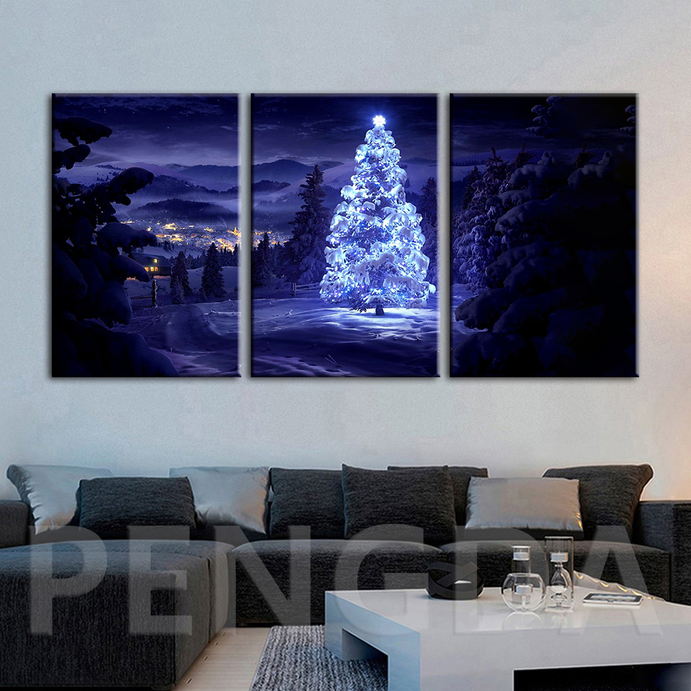 Sapin De Noel Sur Le Mur mur art toile photos cadre moderne arbre de noël en hiver forêt peinture  salon moderne imprimé neigeux nuit affiche