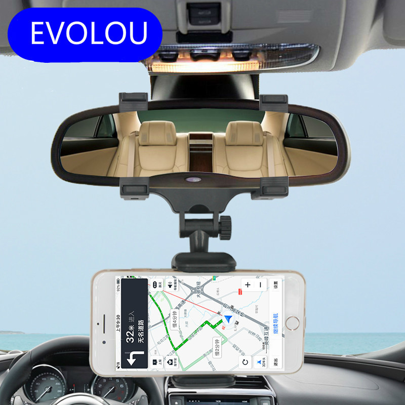 Adjustable Car Holder Rearview Mirror Mount Phone Holder for Iphone X 8 Plus Redmi Note 5 S2 Universal Smartphone Stand Support