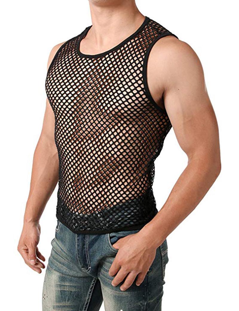 Men/'s Mesh T-shirt Gym Training Tank Tops Fish Net Tee Shirts Sporting Underwear