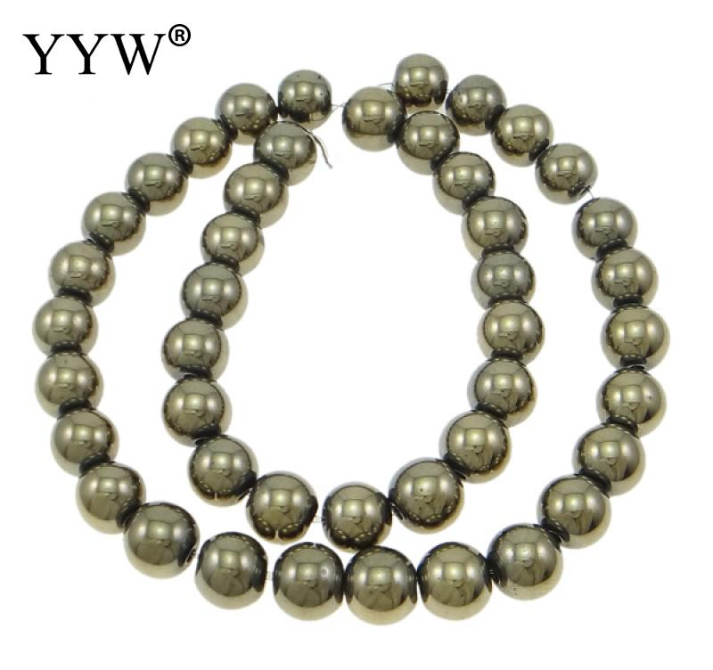 Top Quality 2/3/4/6/8/10/12mm Round Golden Pyrite Beads For Jewelry Making Smooth Natural Gem Stone Ball Bead Strands 15.5inch