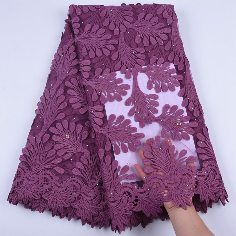 2019 vestido de novia coser apliques 3D tela de encaje africana bordado nigeriano tela de encaje de malla francesa piel real encaje de seda de lecheA1704