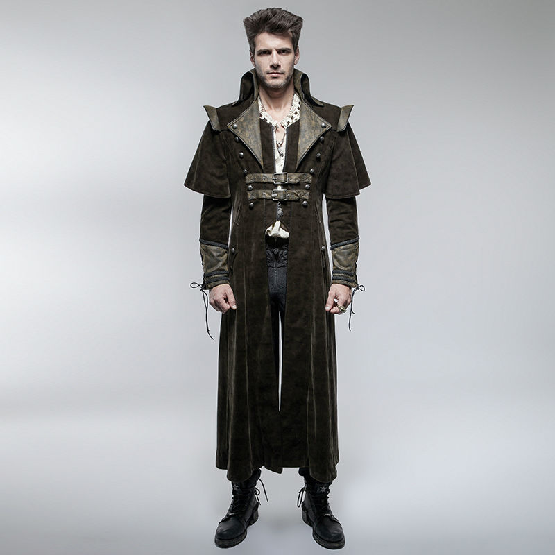 XQS Mens Punk Jacket Overcoat Steampunk Gothic Long Sleeve Trench Coat