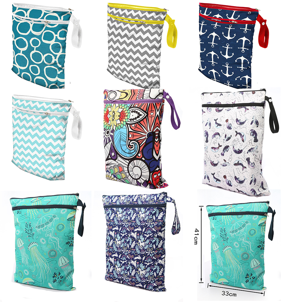 Waterproof Reusable Portable Cloth Diapers Wet Bag with Double Zippered Pocket 27#