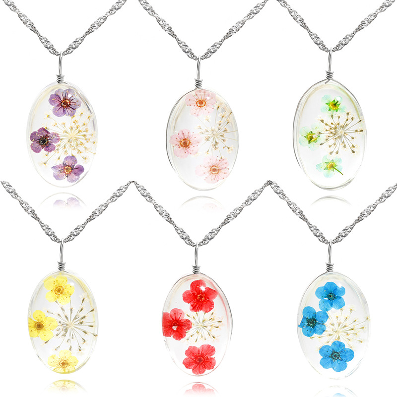 Wax Rope Dried Flowers Pendants Time Gem Jewelry Xmas Gifts Craft Accessory