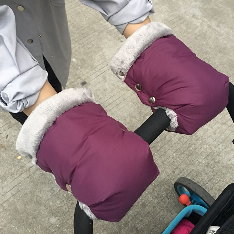 Baby Stroller Hand Muffs Winter Warm Pushchair Pram Buggy Hand Gloves Mittens Thick Polar Fleece Lining Hand Warmer Waterproof Windproof Anti-Freeze for Universal Baby Carriages with Bar Style Handle