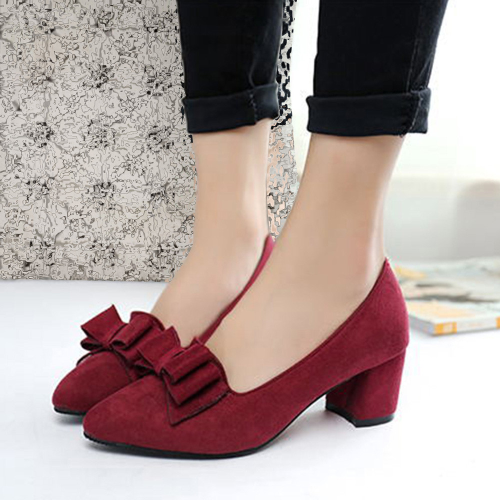 2019 Candy Color Women Pumps Shallow Color Women's Bowknot Suede Block Thick High Heels Shoes Bowtie Working Shoes