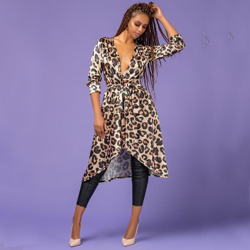 C613 Orta Uzunlukta Paragraf Leopar Baskı Ince Rüzgarlık Sonbahar Elbise Gevşek Ceket