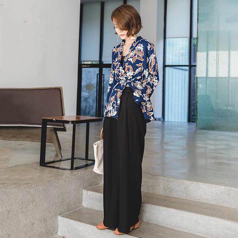 Женская Широкие брюки ноги высокой талией на молнии Карман Большой размер X Длинные брюки весна Женский Мода Ol Одежда