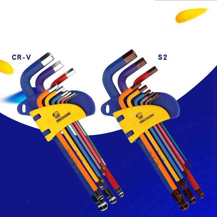 Combinaci/ón plegable llave Allen Juego de llaves de m/últiples funciones portable M/étricas del hogar y en pulgadas llave hexagonal interior del ciruelo Size : 9PCS Inch Allen Key