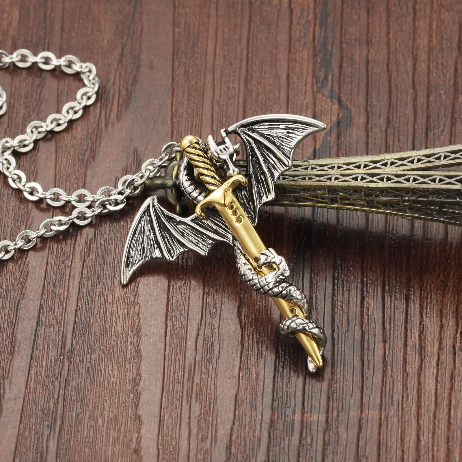 Punk Rock Stainless Steel Dragon Axe Shape Pendant Beads Chain Novelty Necklace