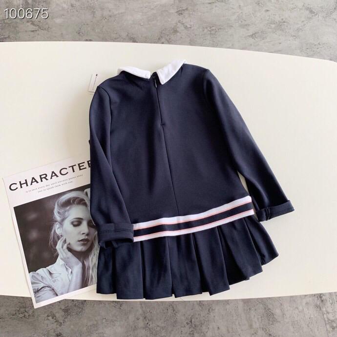 Poupée col de la marque layette fille princesse impression robes robe à manches longues pour enfants de haute qualité pour enfants Robes Vêtements printemps DF-2