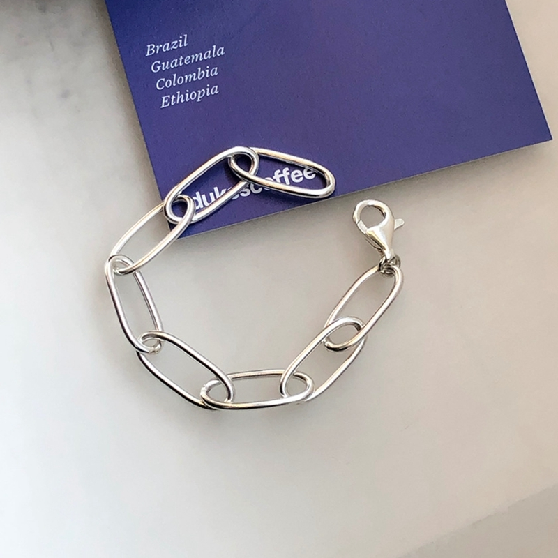 LouLeur 925 Sterling Silver Crude Chain Bracelets Rock Punk New Buckle Bracelet For Women Fashion Jewelry Gifts Drop Shipping