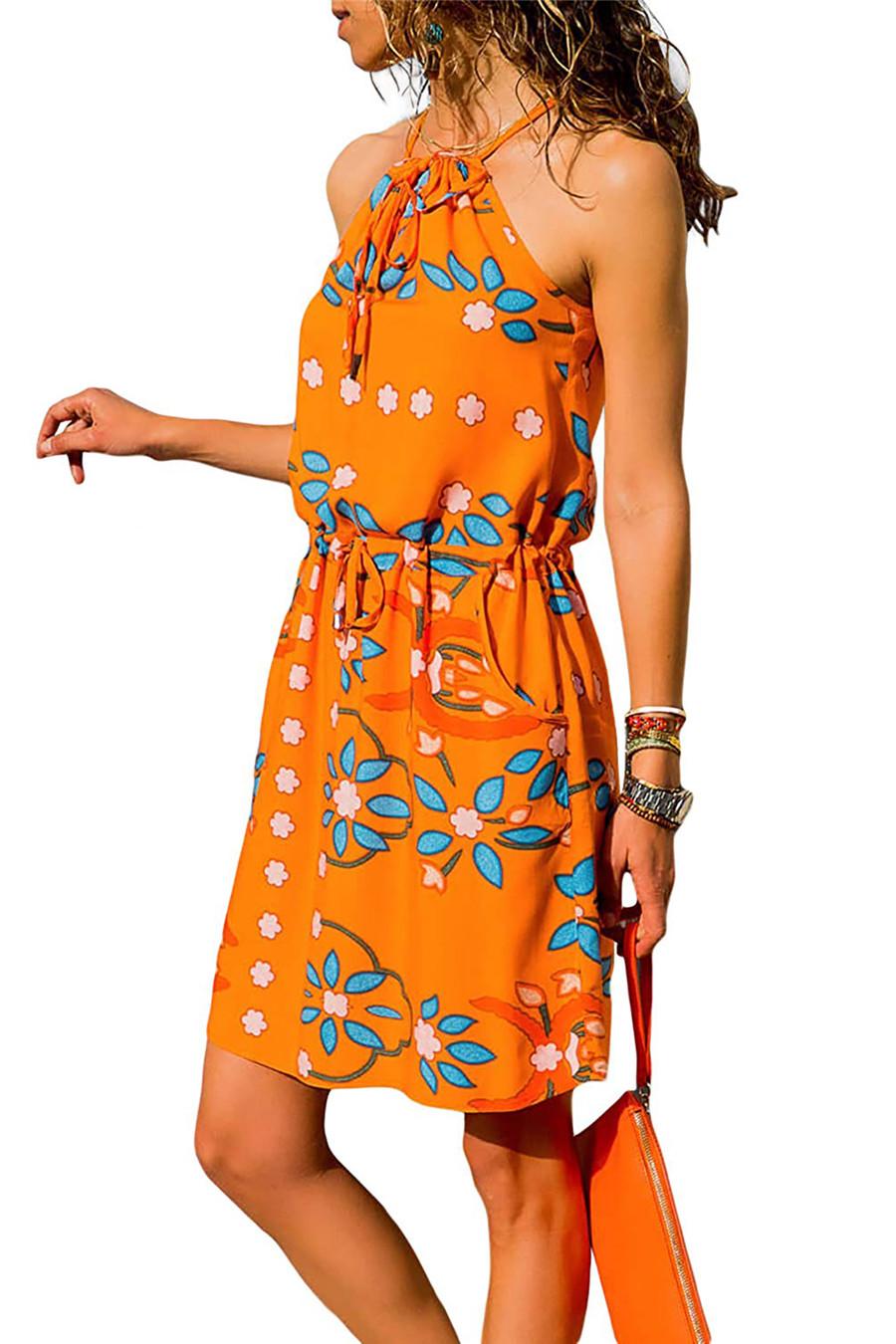 Gladiolus Chiffon Women Summer Dress Spaghetti Strap Floral Print Pocket Sexy Bohemian Beach Dress 2019 Short Ladies Dresses (37)