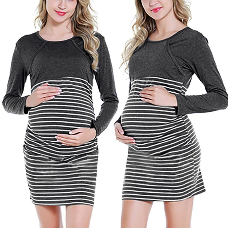 Mujer Embarazada Maternidad Raya T/úNica Lactancia Verano Vestido De Maternidad De Las Mujeres Maternidad Envolver Verano Vestido Sin Mangas