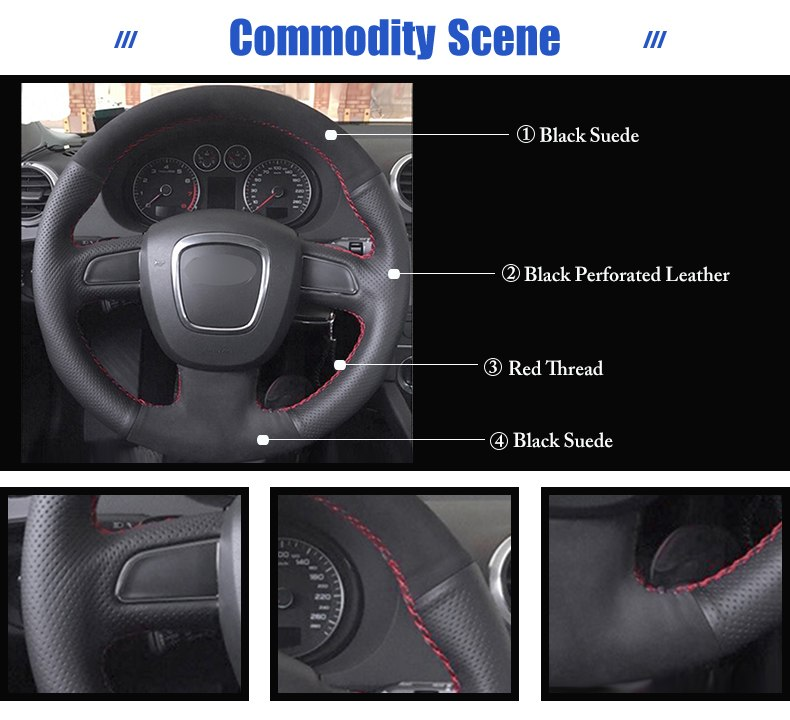 for Audi A4 steering wheel cover