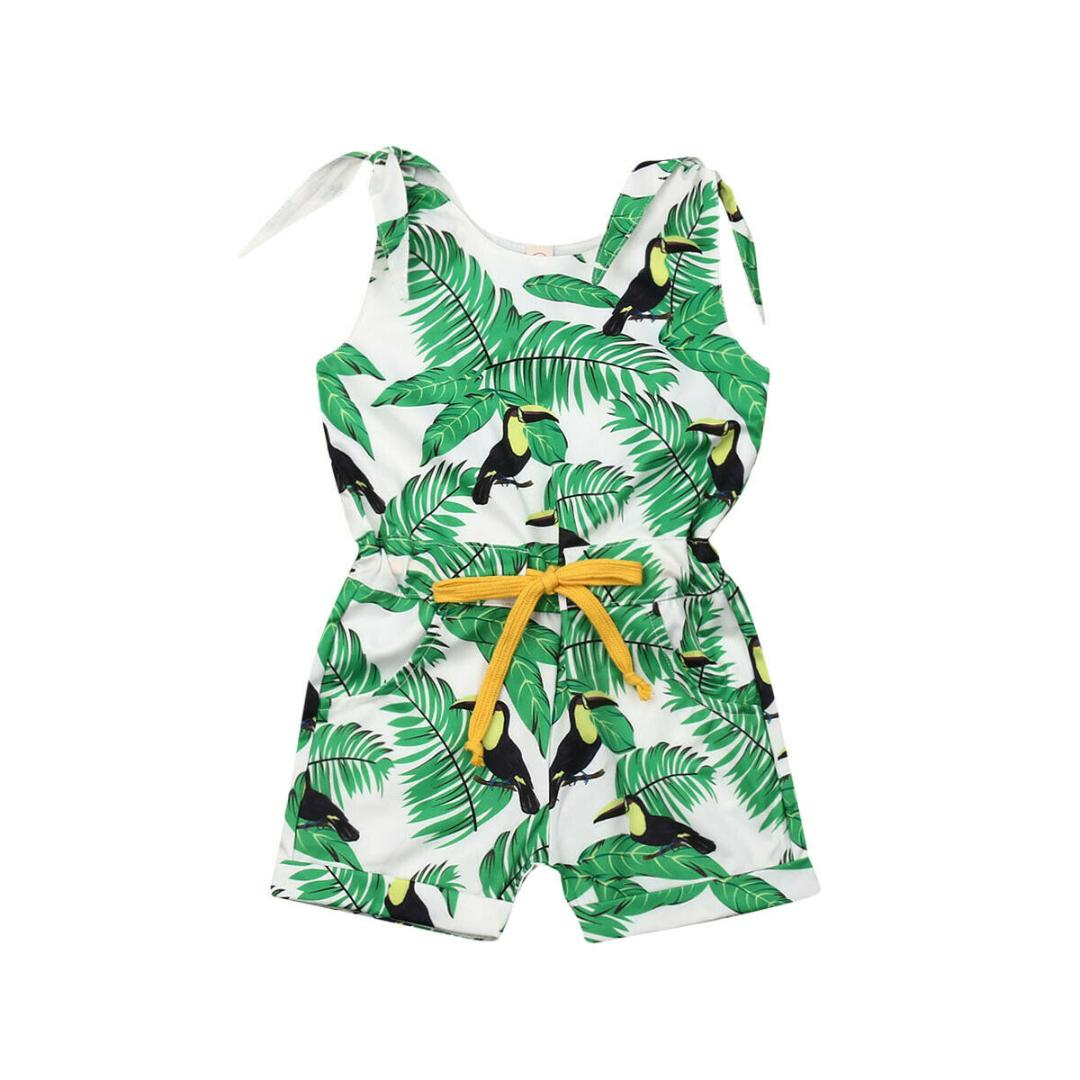 One-piece Romper Summer Baby Girl Overall Outfit Floral Print Sleeveless Clothes
