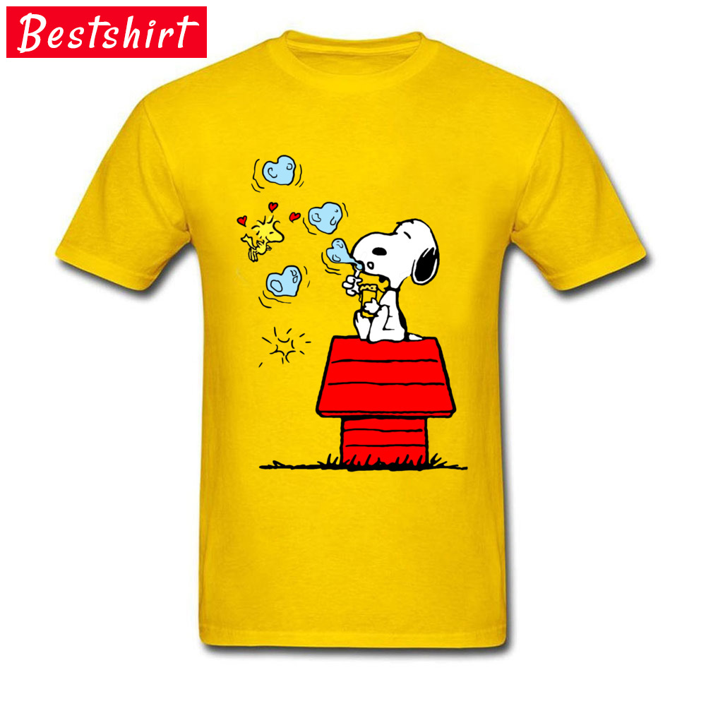Snoopy and Woodstock -4362 Normal Summer/Autumn Pure Cotton O-Neck Men Tops Tees Tee Shirt Popular Short Sleeve Top T-shirts Snoopy and Woodstock -4362 yellow