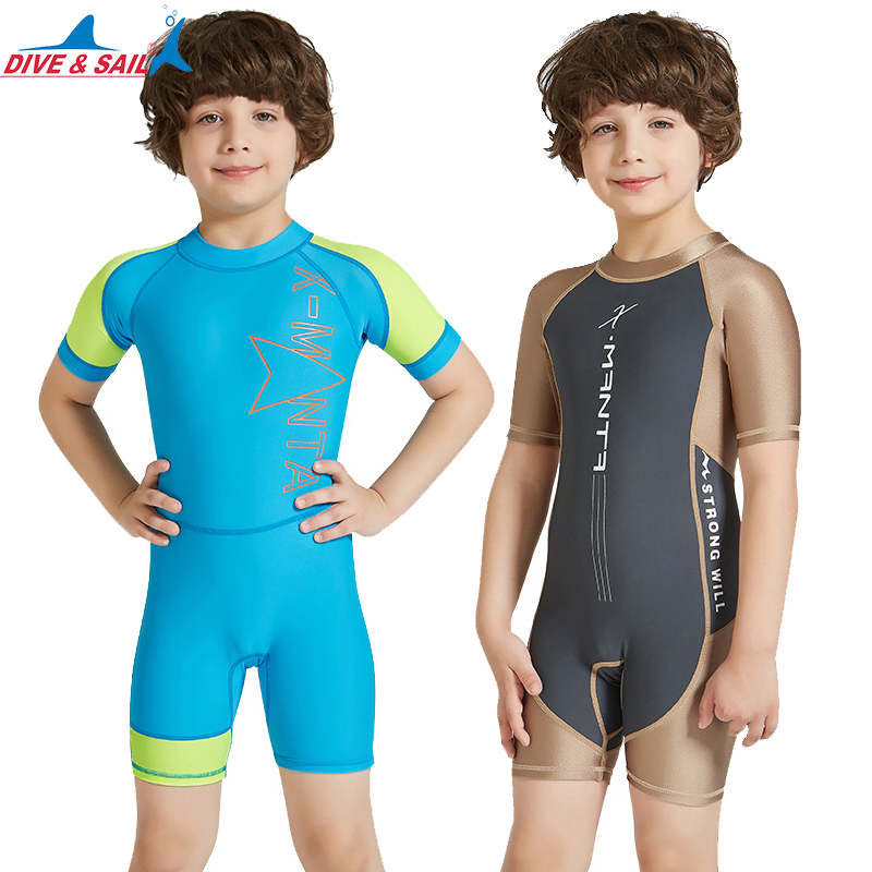 DiveSail kids boys one piece swimsuit boy swimwear Sun Protective children Rash Guard Costume Bathing Suits