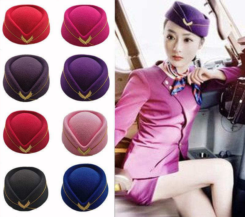 Navy Ladies Flight Attendant Hat Fancy Dress Accessory Plane Airline