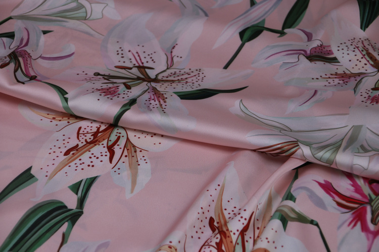 Pink Floral Print Silky Satin Dress Fabric Sold per metre