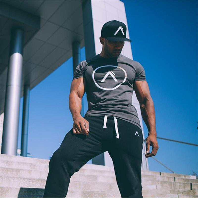 Gym T-shirt Men Short sleeve Cotton Tshirts Casual Print Slim t shirt Male Fitness Bodybuilding Workout Tee Tops Summer Clothing