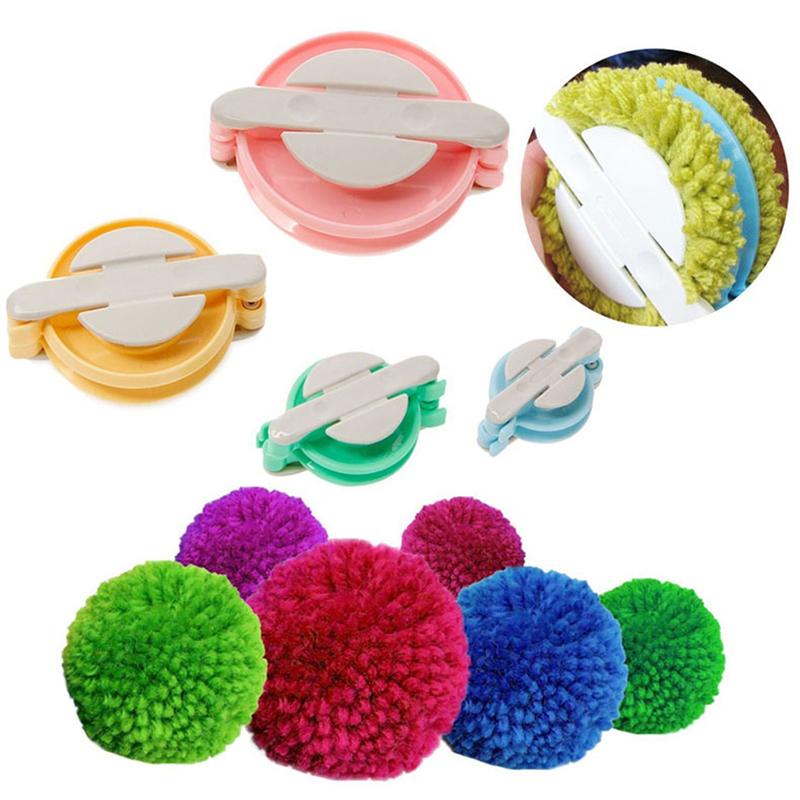 fabricaci/ón de pompones verde, rosa, azul, amarillo herramientas de tejido 4 tama/ños Xinlie fabricante de pompones bola de pelo kit de herramientas de lana de tejer DIY herramienta para tejer