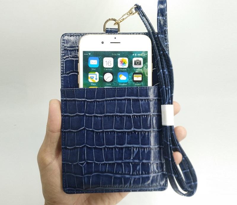 blue card holder strap case genuine leather