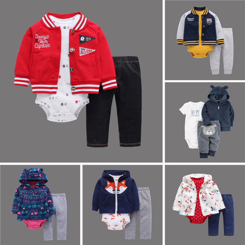 newborn baby boy girl clothes set coat+rompers+pant spring autumn outfit infant clothing babies suit new born costume fashion