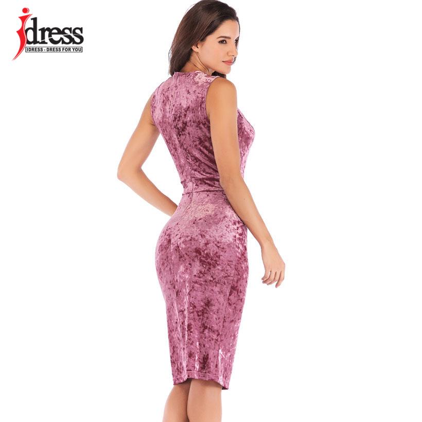IDress New Sexy Velvet Club Dress Sleeveless V Neck Sexy Knee Length Autumn Dress Women Sheath Pencil Midi Bodycon Party Dresses (11)