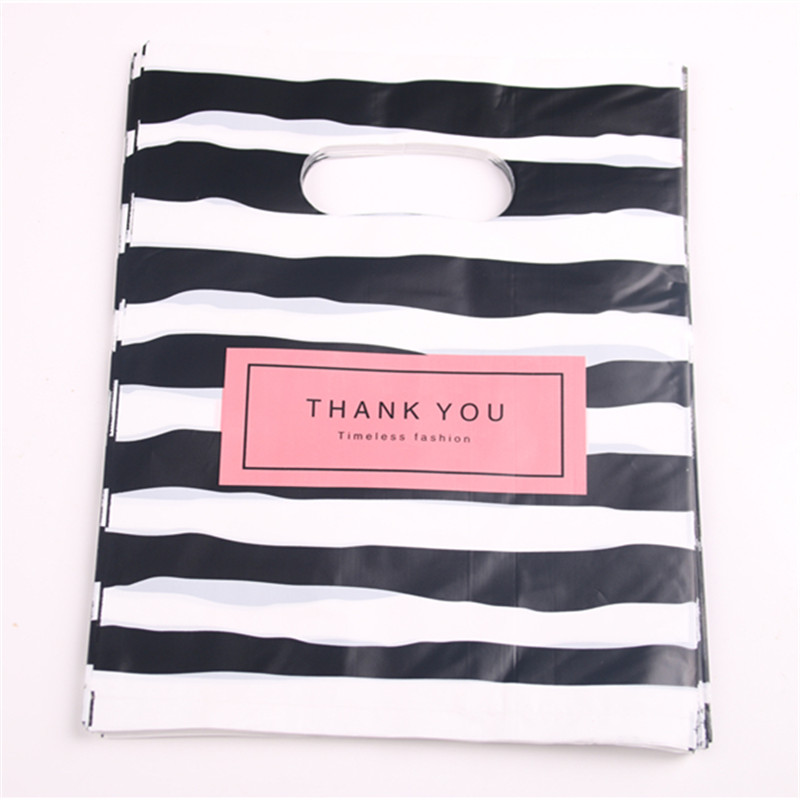Hot New Fashion Wholesale 100pcs/lot 20*25cm Black&white Stripe Shopping Gift Packaging Bags With THANK YOU