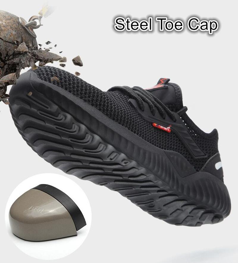 Sapatos indestrutíveis homens trabalham Segurança Sapatos com biqueira de aço Cap prova de punção Botas Leve respirável Sneakers Dropshipping LY191217