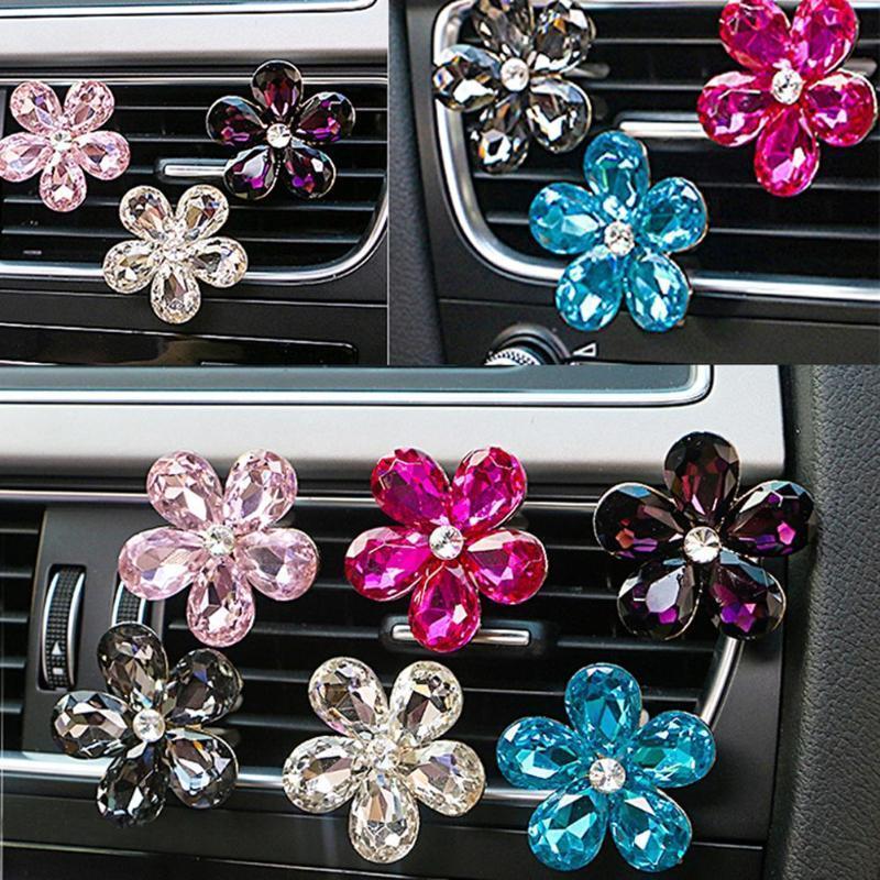 Vodool Car Interior Accessories Automobile Air Conditioner Outlet Crystal Flower Decor Car Ornaments Vent Perfume Decoration C19041201