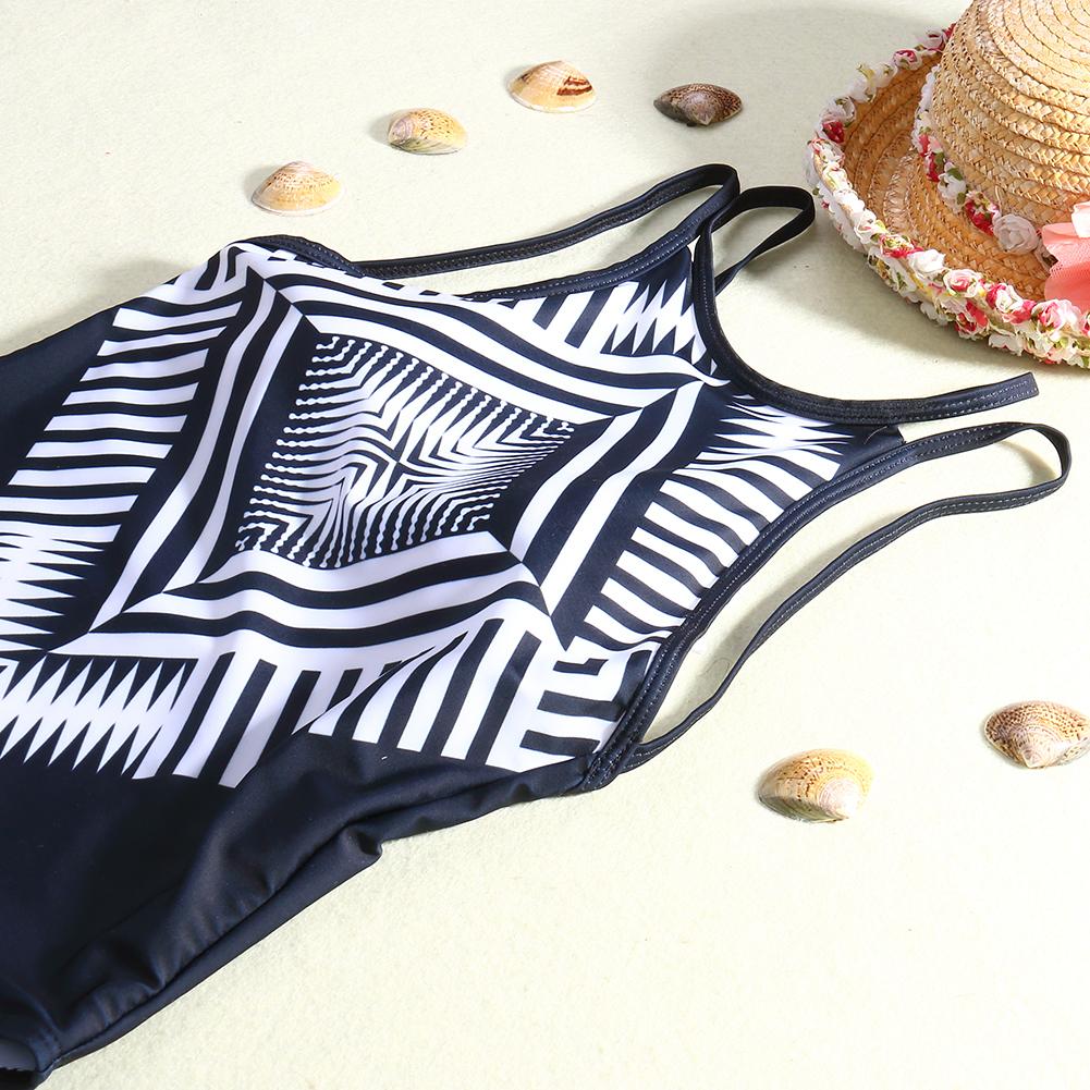 Sexy traje de baño de una pieza para las mujeres empuja hacia arriba el traje de baño acolchado Monokni Beachwear Negro traje de baño de impresión geométrica D35