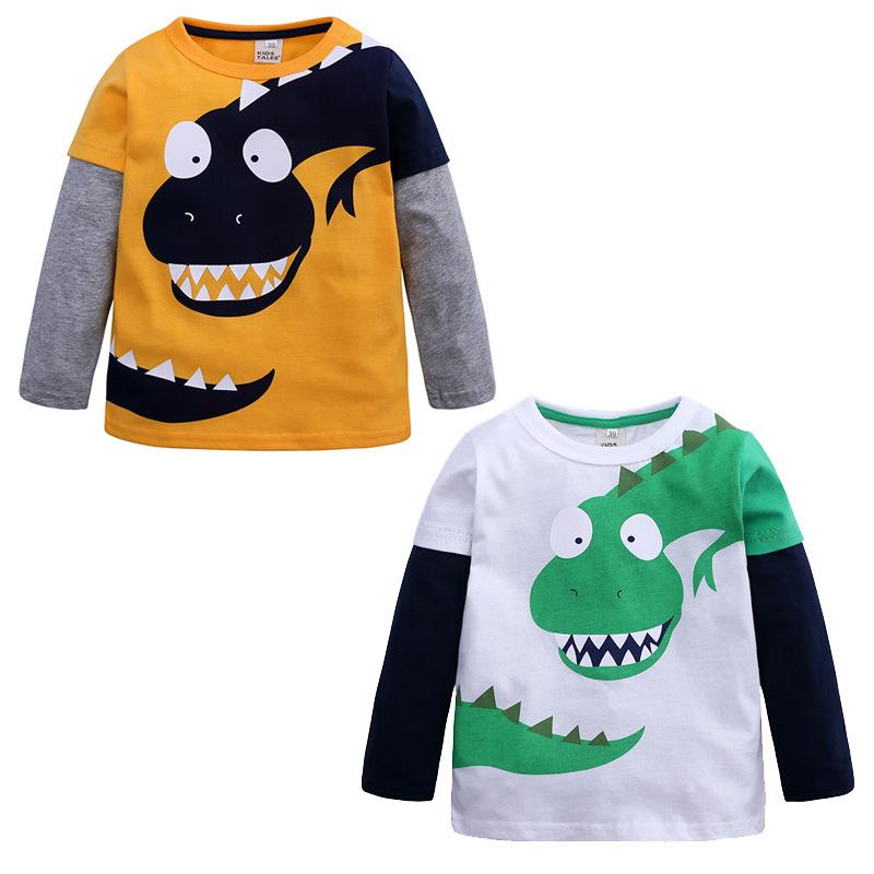cartoon dinosaur animal print long sleeve t shirt kids tshirt white tops 2019 summer boy clothes cotton Children toddler t-shirt