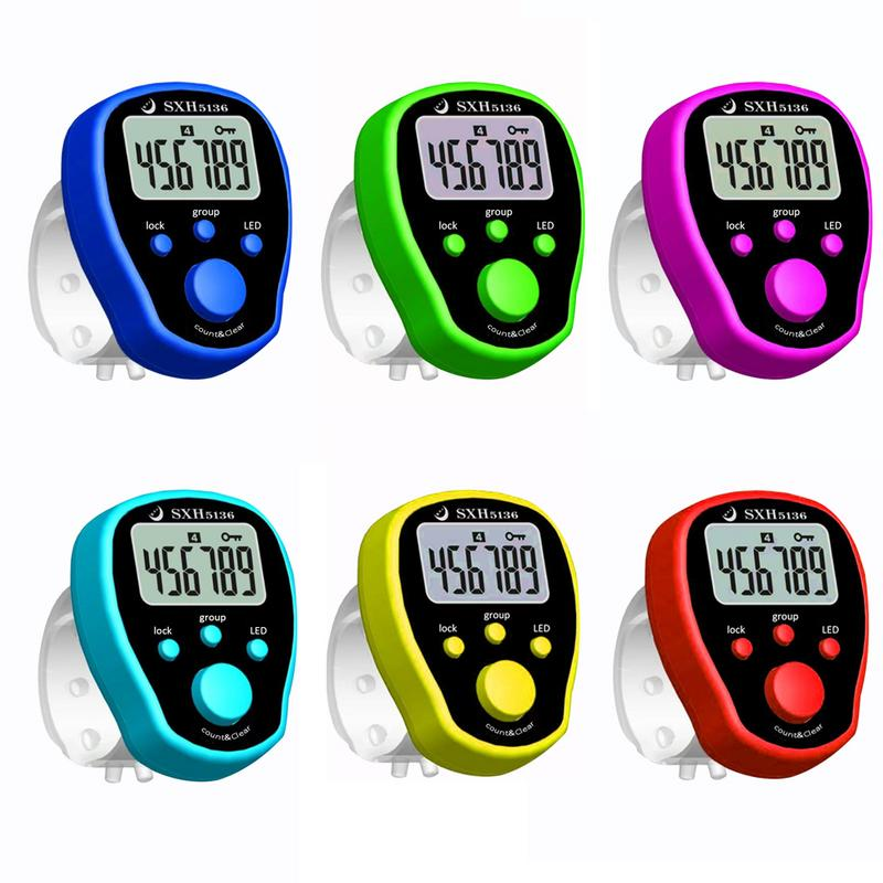 random Digit Digital Lcd Electronic Finger Hand Ring Knit Row Tally Counter OS