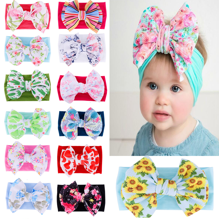 Girl Bohemian Cute Wide-brimmed Headband Nylon Printed Bow Baby Soft Hair Bands