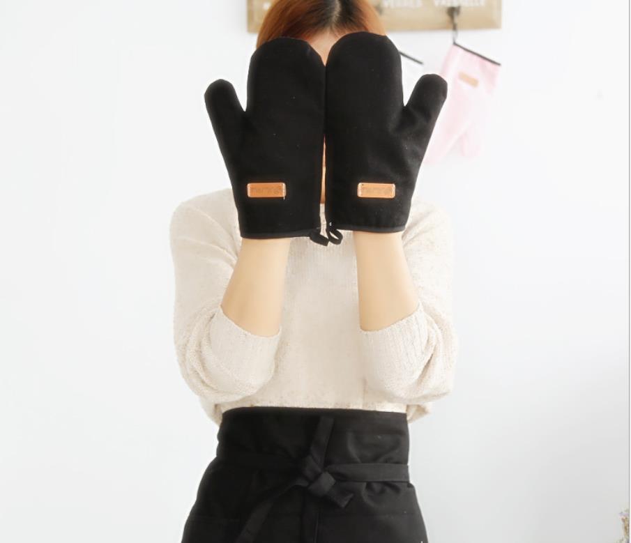 Rouge double four gants épais rembourré résistant à la chaleur moufles gant de cuisine coton