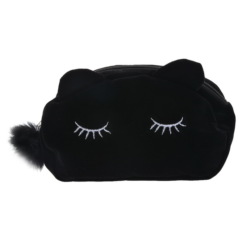 Cute Cat Cosmetic Bag Women Necessaire Make Up Bag Travel Portable Beauty Pouch Flannel Toiletry Kits For Women Girls