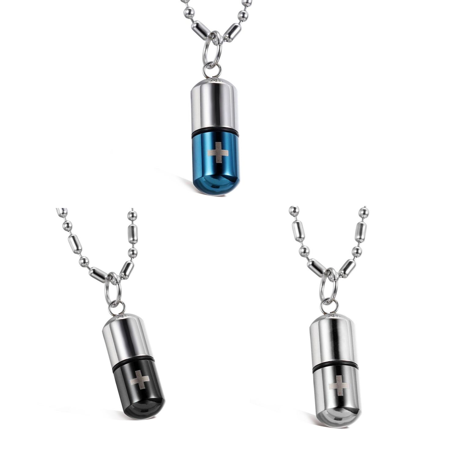 Stainless Steel LOVE Pill Case Container Pendant Necklace Leather Chain 1 PC