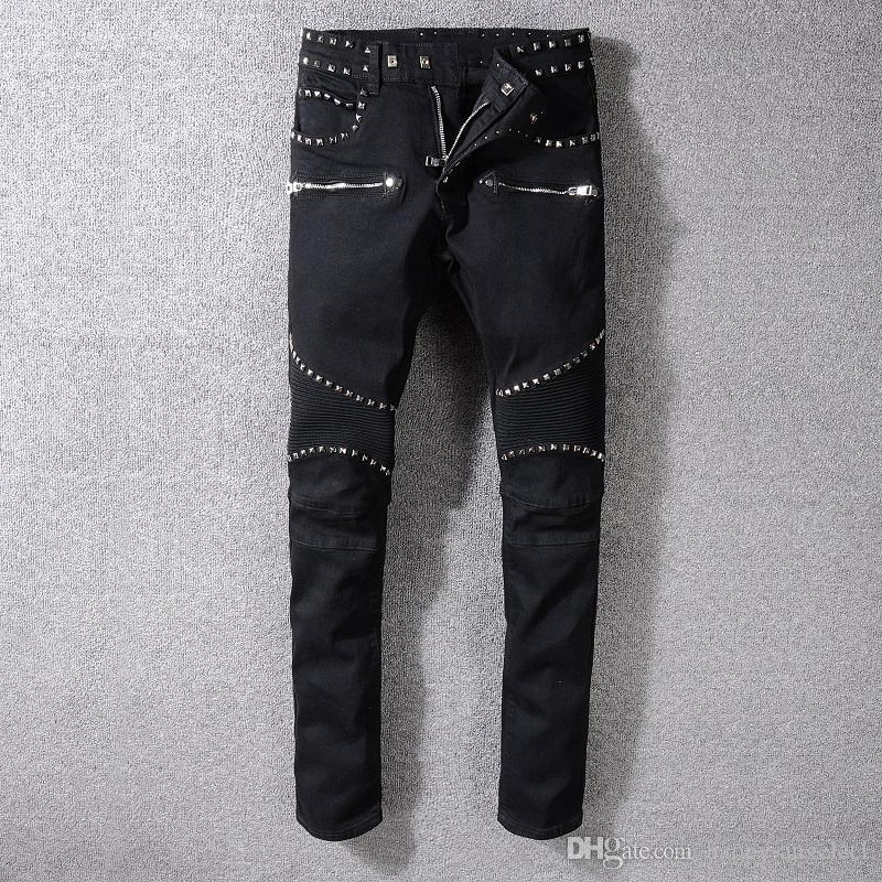 Homme Skinny Déchiré Biker Denim Jeans Bleu Noir Blanc Fashion effiloché effet vieilli