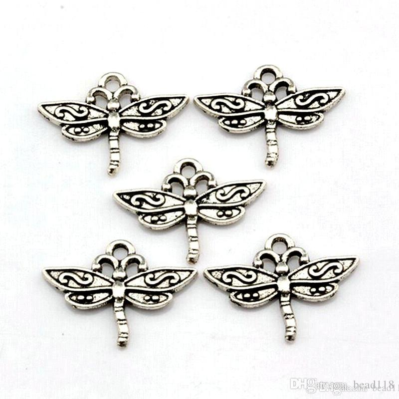 Dragonfly Charms Pendants alloy Jewelry DIY Fit Bracelets Necklace Earrings Antique silver 15 x 23mm