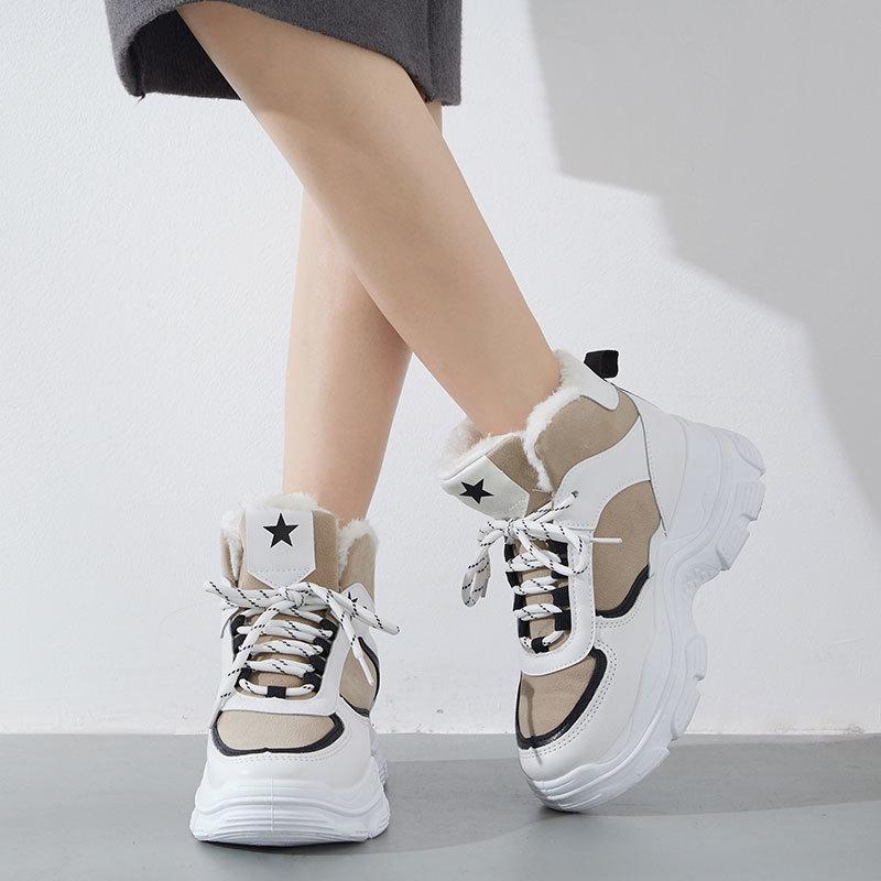 Delle Donne scarpe casual fashion designer esterno dell'interno universale superficie di cuoio inferiore spesso rivestimento Fluffy Khaki tennis casuali